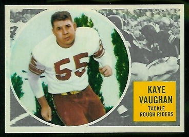 Kaye Vaughan 1960 Topps CFL football card