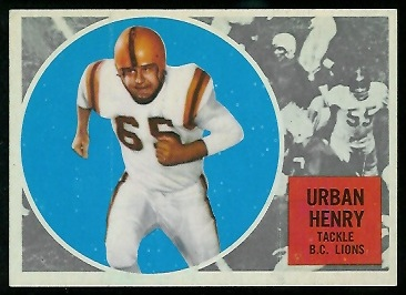 Urban Henry 1960 Topps CFL football card