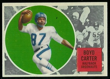 Boyd Carter 1960 Topps CFL football card