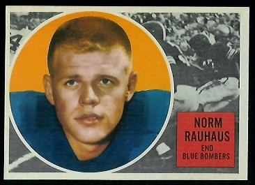 Norm Rauhaus 1960 Topps CFL football card