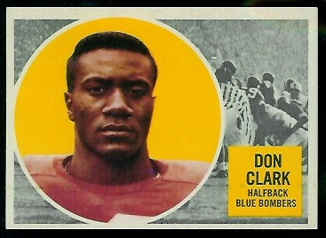 Don Clark 1960 Topps CFL football card
