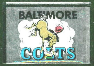 Baltimore Colts 1960 Topps Metallic Stickers football card
