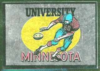 Minnesota Golden Gophers 1960 Topps Metallic Stickers football card