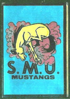 SMU Mustangs 1960 Topps Metallic Stickers football card