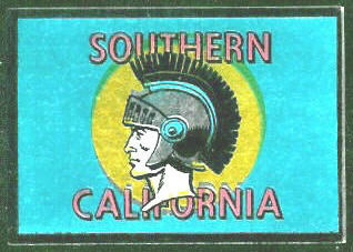 USC Trojans 1960 Topps Metallic Stickers football card