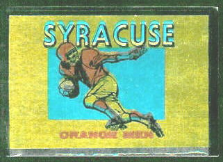 Syracuse Orangemen 1960 Topps Metallic Stickers football card