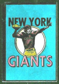 New York Giants 1960 Topps Metallic Stickers football card