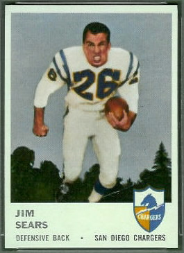 Jim Sears 1961 Fleer football card