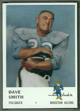 Dave Smith 1961 Fleer football card