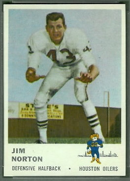 Jim Norton 1961 Fleer football card