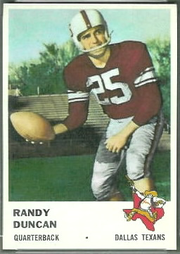 Randy Duncan 1961 Fleer football card