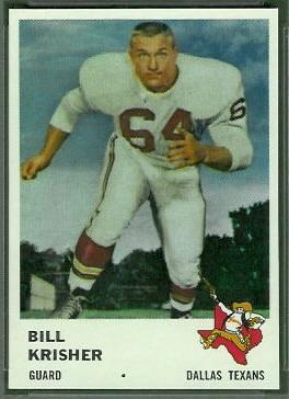 Bill Krisher 1961 Fleer football card