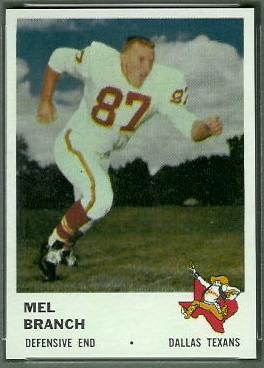 Mel Branch 1961 Fleer football card