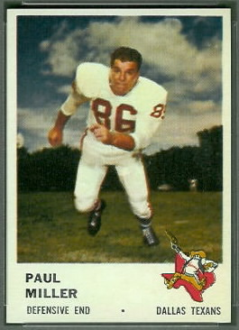 Paul Miller 1961 Fleer football card