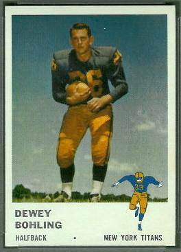 Dewey Bohling 1961 Fleer football card