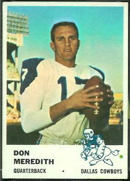 Don Meredith Rookie Card 1961 Fleer 41 Vintage