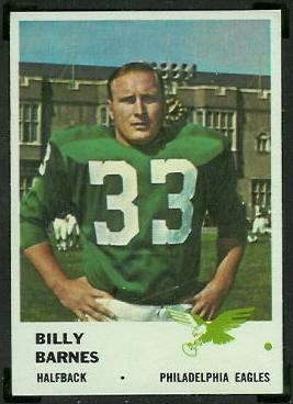 Bill Barnes 1961 Fleer football card