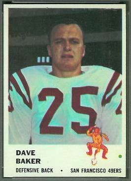 Dave Baker 1961 Fleer football card