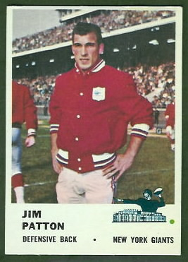 Jim Patton 1961 Fleer football card