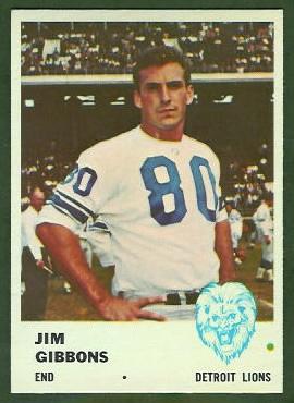 Jim Gibbons 1961 Fleer football card