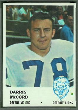 Darris McCord 1961 Fleer football card