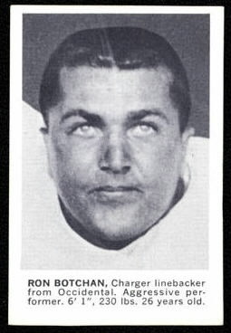 Ron Botchan 1961 Golden Tulip Chargers football card