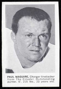 Paul Maguire 1961 Golden Tulip Chargers football card