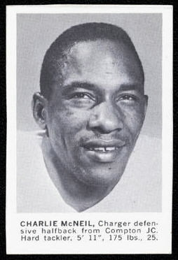 Charles McNeil 1961 Golden Tulip Chargers football card