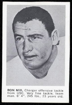Ron Mix 1961 Golden Tulip Chargers football card