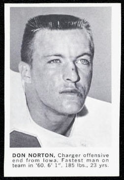 Don Norton 1961 Golden Tulip Chargers football card