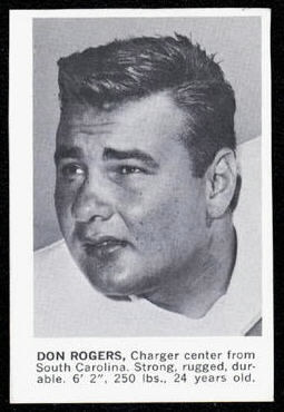 Don Rogers 1961 Golden Tulip Chargers football card