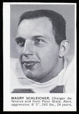 Maury Schleicher 1961 Golden Tulip Chargers football card