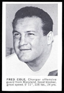 Fred Cole 1961 Golden Tulip Chargers football card