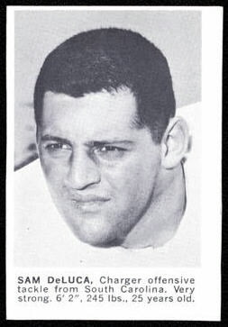 Sam DeLuca 1961 Golden Tulip Chargers football card