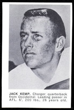 Jack Kemp 1961 Golden Tulip Chargers football card