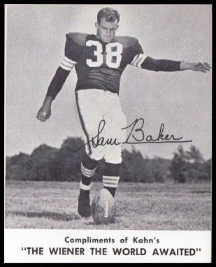 Sam Baker 1961 Kahns football card
