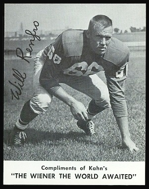 Will Renfro 1961 Kahns football card