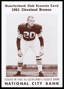 Ross Fichtner 1961 National City Bank Browns football card