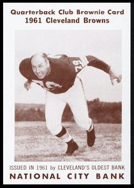Bob Gain 1961 National City Bank Browns football card