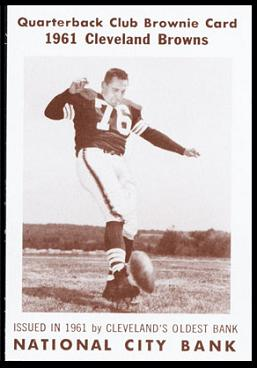 Lou Groza 1961 National City Bank Browns football card