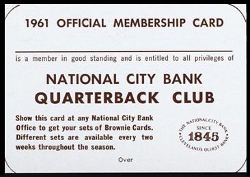 Quarterback Club Membership Card 1961 National City Bank Browns football card