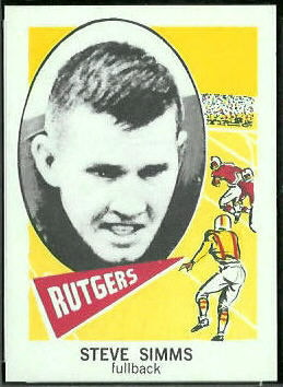 Steve Simms 1961 Nu-Card football card