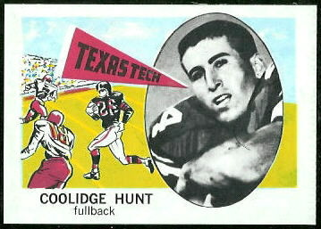 Coolidge Hunt 1961 Nu-Card football card