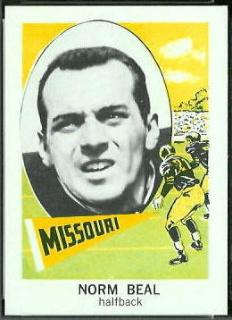 Norm Beal 1961 Nu-Card football card