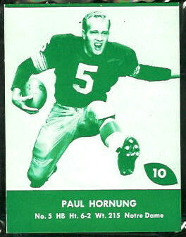 Paul Hornung 1961 Packers Lake to Lake football card