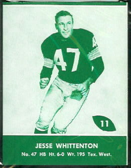 Jesse Whittenton 1961 Packers Lake to Lake football card