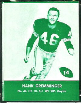 Hank Gremminger 1961 Packers Lake to Lake football card