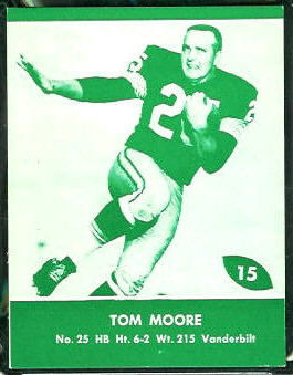 Tom Moore 1961 Packers Lake to Lake football card