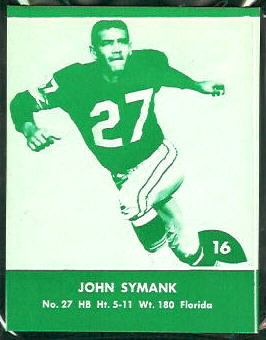John Symank 1961 Packers Lake to Lake football card