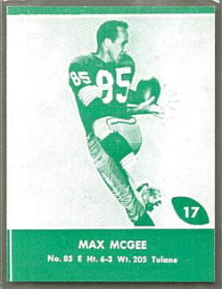 Max McGee 1961 Packers Lake to Lake football card